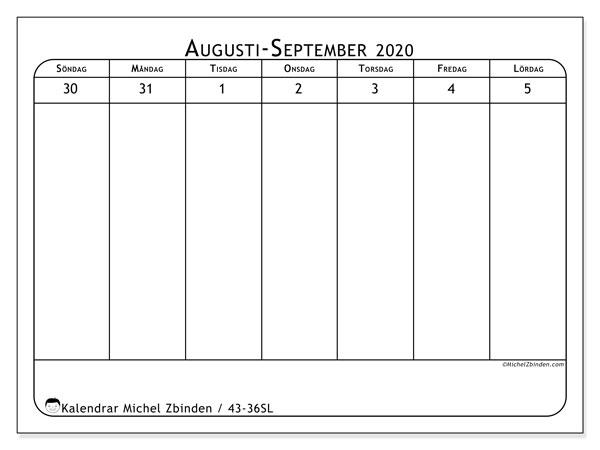 Kalender 2020, 43-36SL. Kalender för veckan att skriva ut gratis.