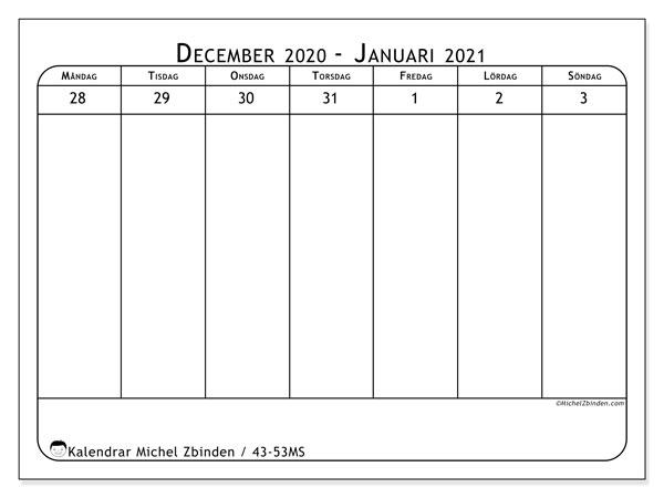 Kalender 2020, 43-53MS. Kalender för att skriva ut gratis.