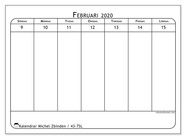 Kalender 2020, 43-7SL. Almanak för att skriva ut gratis.