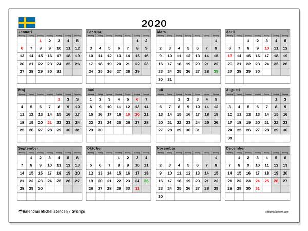 Kalender 2020, med helgdagar i sverige. Månadskalender för att skriva ut gratis.