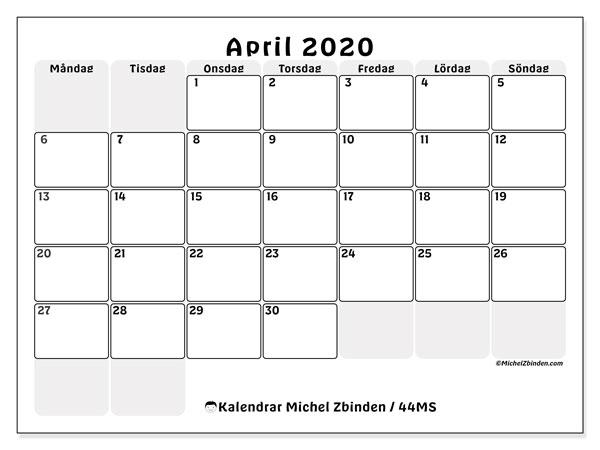 Kalender april 2020, 44MS. Kalender för året att skriva ut gratis.