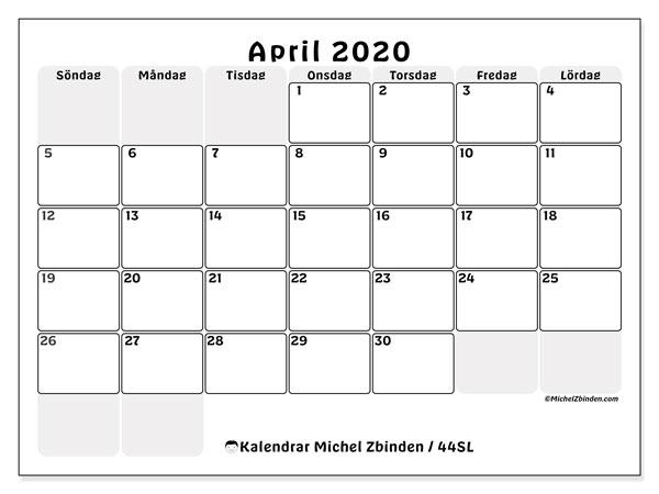Kalender april 2020, 44SL. Kalender för att skriva ut gratis.