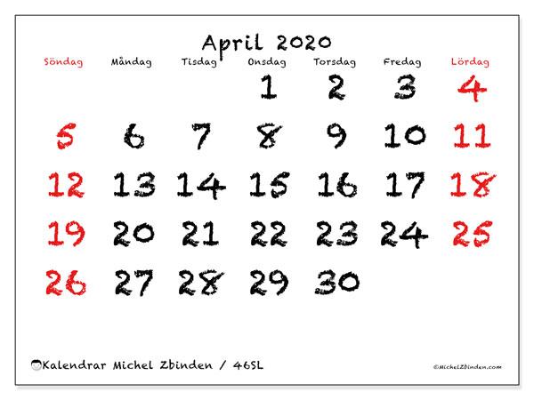Kalender april 2020, 46SL. Månadskalender för att skriva ut gratis.