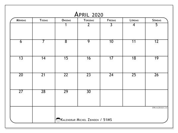 Kalender april 2020, 51MS. Almanak för att skriva ut gratis.
