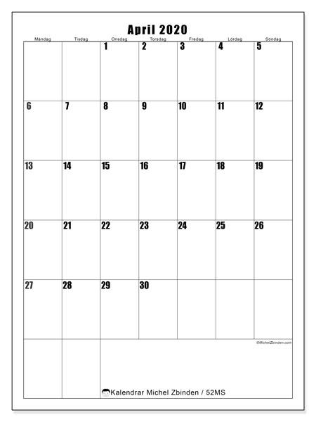 Kalender april 2020, 52MS. Schema för att skriva ut gratis.