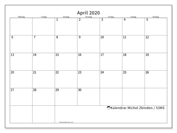 Kalender april 2020, 53MS. Schema för att skriva ut gratis.