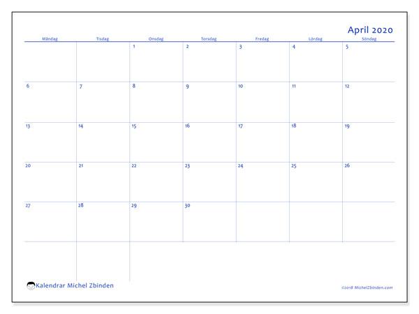 Kalender april 2020, 55MS. Almanak för att skriva ut gratis.