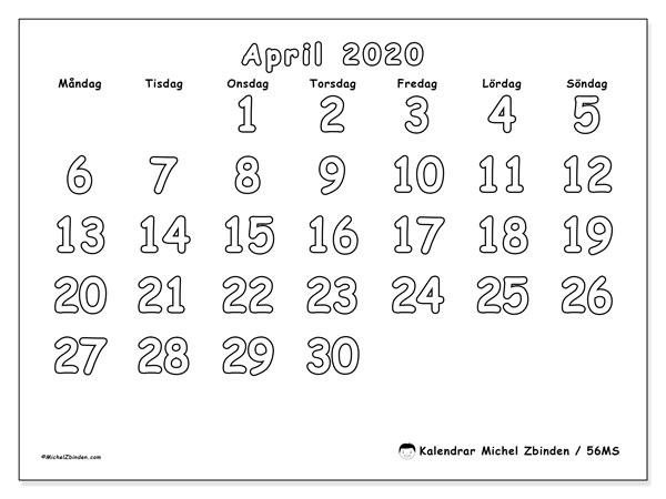 Kalender april 2020, 56MS. Almanak för att skriva ut gratis.