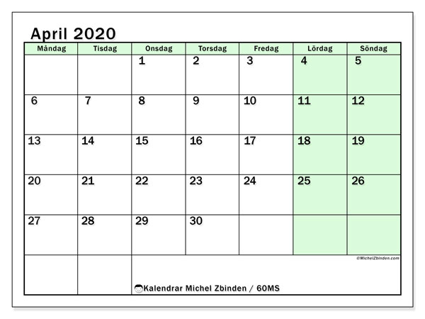 Kalender april 2020, 60MS. Schema för att skriva ut gratis.