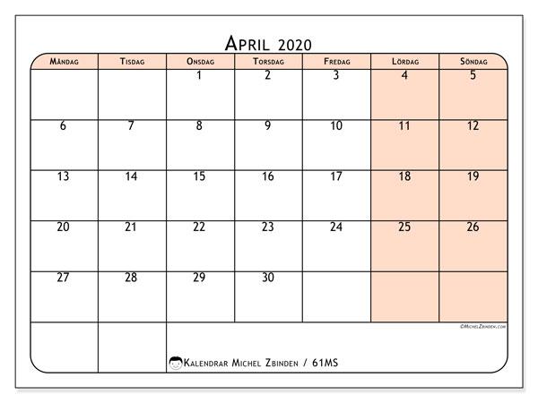 Kalender april 2020, 61MS. Kalender för gratis utskrift.