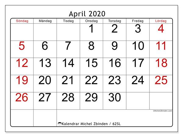 Kalender april 2020, 62SL. Almanak för att skriva ut gratis.