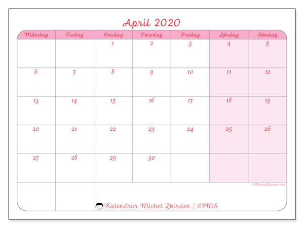 Kalender april 2020, 63MS. Schema för att skriva ut gratis.