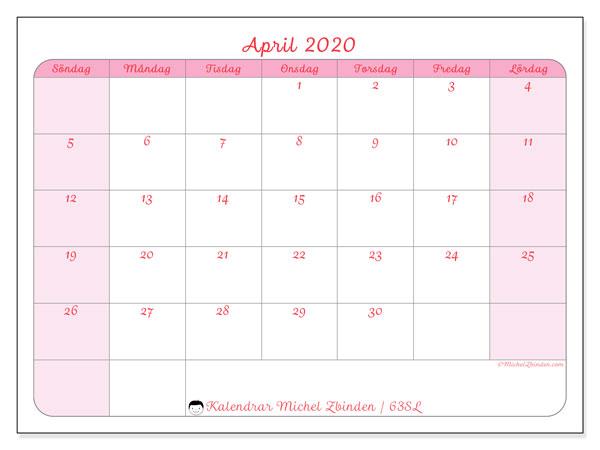 Kalender april 2020, 63SL. Almanak för att skriva ut gratis.