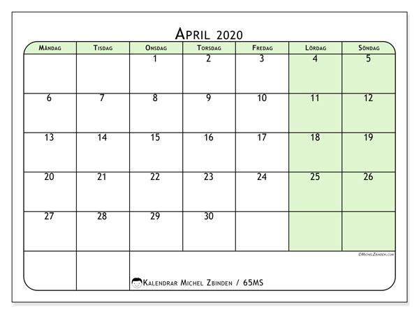 Kalender april 2020, 65MS. Almanak för att skriva ut gratis.