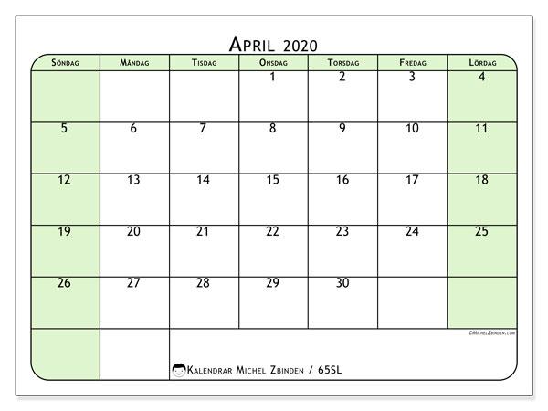 Kalender april 2020, 65SL. Gratis kalender att skriva ut.