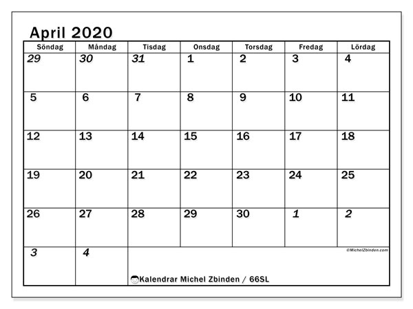 Kalender april 2020, 66SL. Månadskalender för att skriva ut gratis.