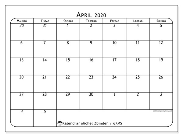 Kalender april 2020, 67MS. Schema för att skriva ut gratis.