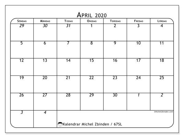 Kalender april 2020, 67SL. Almanak för att skriva ut gratis.