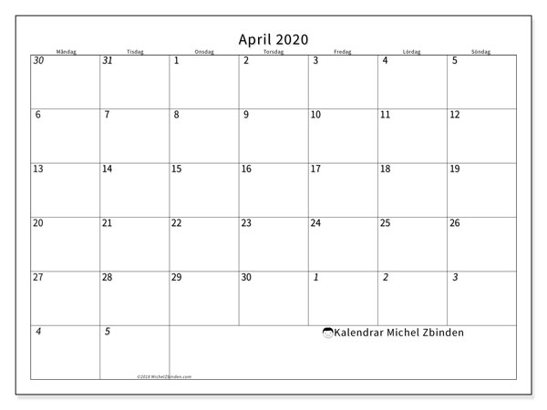 Kalender april 2020, 70MS. Almanak för att skriva ut gratis.