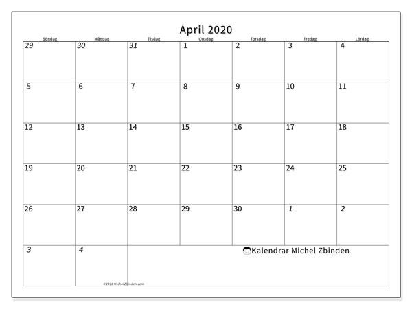 Kalender april 2020, 70SL. Kalender för året att skriva ut gratis.