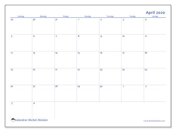 Kalender april 2020, 73SL. Kalender för gratis utskrift.