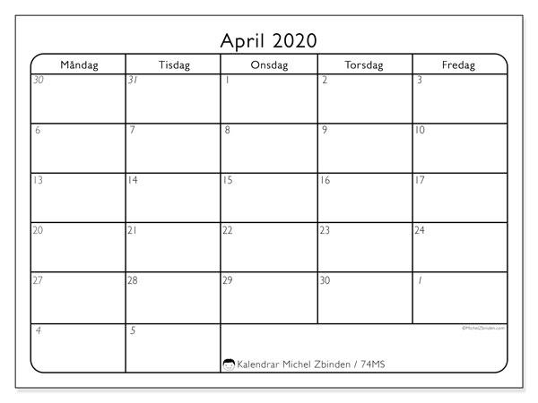 Kalender april 2020, 74MS. Kalender för gratis utskrift.