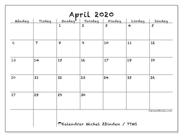 Kalender april 2020, 77MS. Kalender för året att skriva ut gratis.