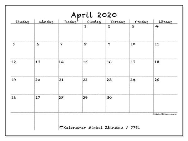 Kalender april 2020, 77SL. Månadskalender för att skriva ut gratis.