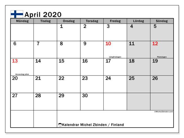 Kalender april 2020, med semester i Finland. Kalender för gratis utskrift med helgdagar.