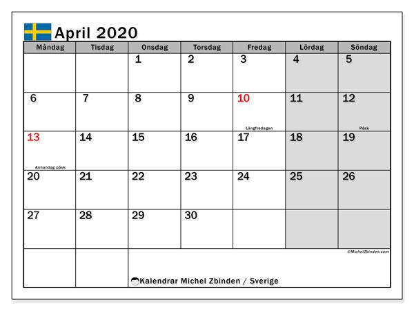 Kalender april 2020, med helgdagar i sverige. Schema för att skriva ut gratis.