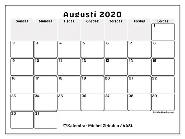 Kalender augusti 2020, 44SL. Kalender för gratis utskrift.