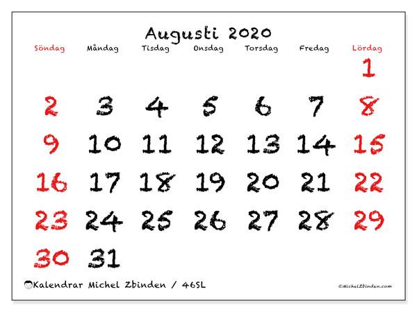 Kalender augusti 2020, 46SL. Schema för att skriva ut gratis.