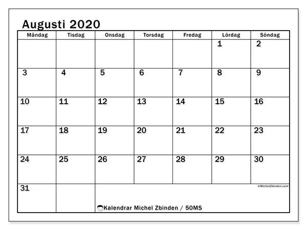 Kalender augusti 2020, 50MS. Månadskalender för att skriva ut gratis.