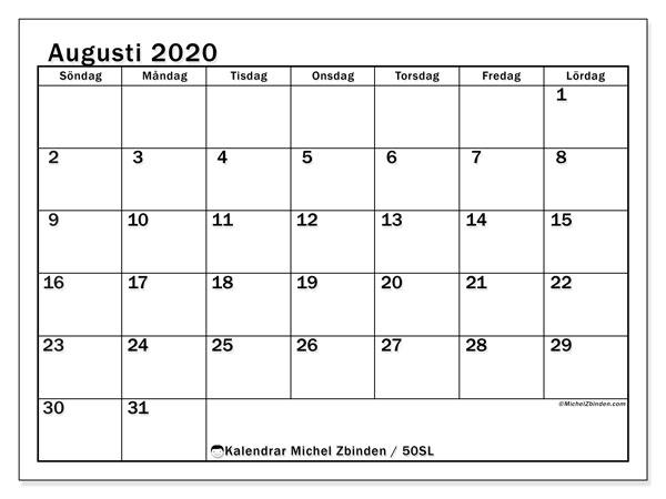Kalender augusti 2020, 50SL. Schema för att skriva ut gratis.
