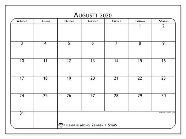 Kalender augusti 2020, 51MS. Månadskalender för att skriva ut gratis.
