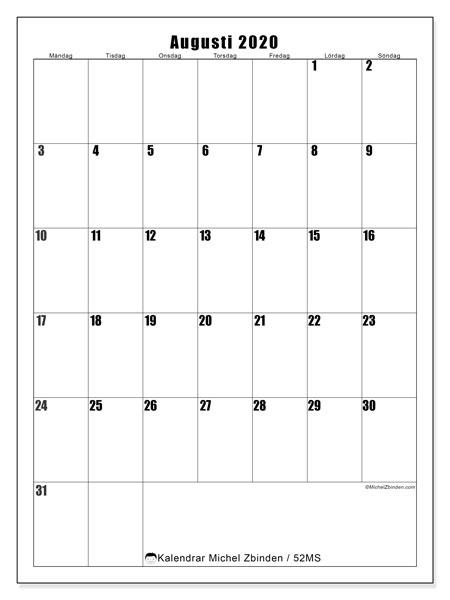 Kalender augusti 2020, 52MS. Kalender för året att skriva ut gratis.