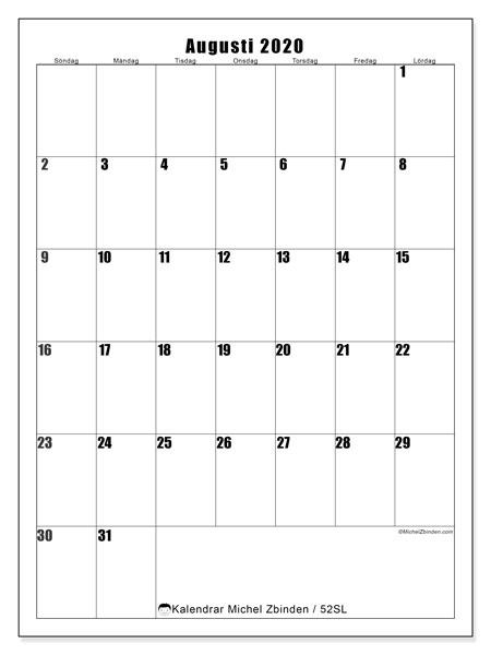 Kalender augusti 2020, 52SL. Kalender för året att skriva ut gratis.
