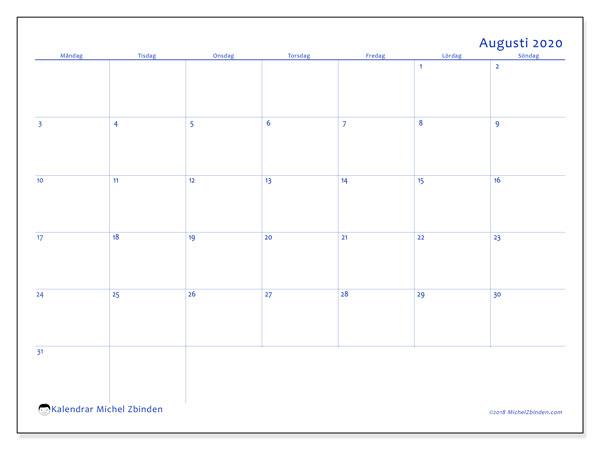 Kalender augusti 2020, 55MS. Gratis kalender att skriva ut.