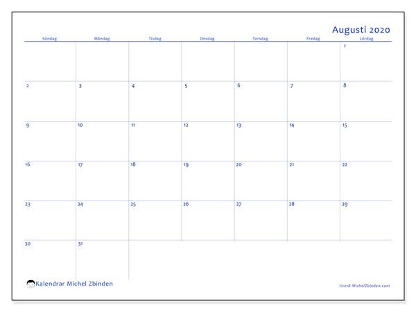 Kalender augusti 2020, 55SL. Gratis kalender att skriva ut.