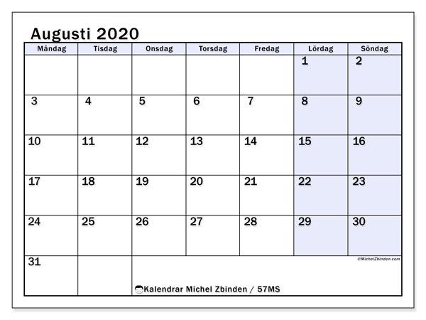 Kalender augusti 2020, 57MS. Schema för att skriva ut gratis.
