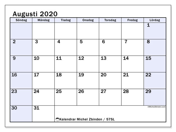 Kalender augusti 2020, 57SL. Kalender för att skriva ut gratis.