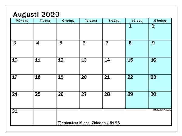 Kalender augusti 2020, 59MS. Kalender för gratis utskrift.