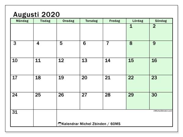 Kalender augusti 2020, 60MS. Kalender för gratis utskrift.