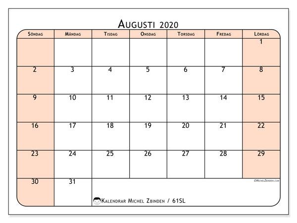 Kalender augusti 2020, 61SL. Schema för att skriva ut gratis.