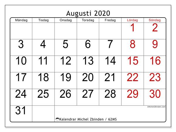 Kalender augusti 2020, 62MS. Kalender för gratis utskrift.