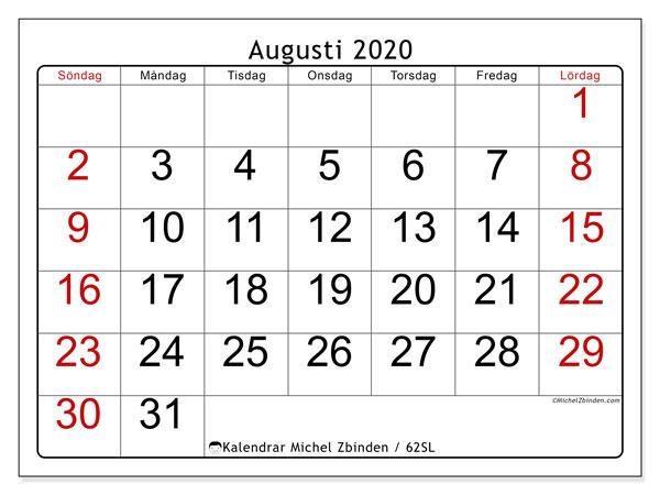 Kalender augusti 2020, 62SL. Kalender för gratis utskrift.