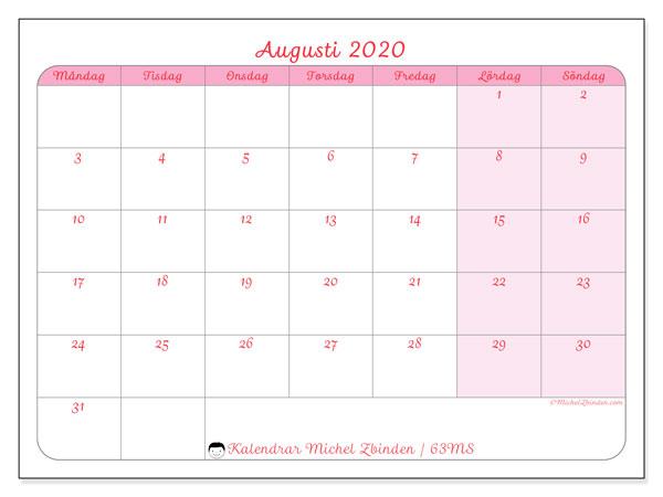 Kalender augusti 2020, 63MS. Gratis utskrivbara kalender.