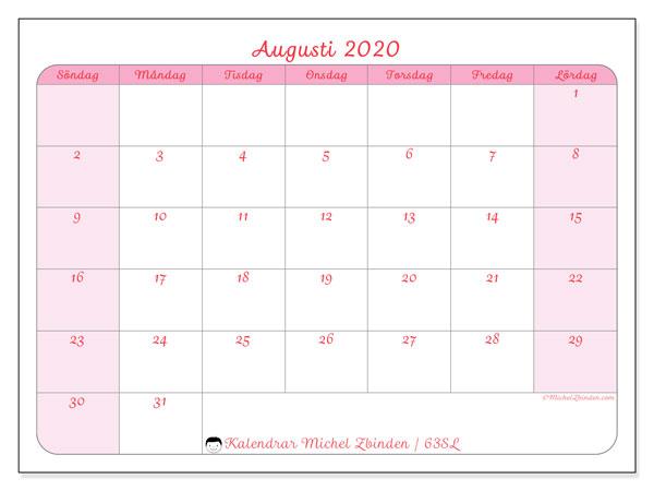Kalender augusti 2020, 63SL. Kalender för gratis utskrift.