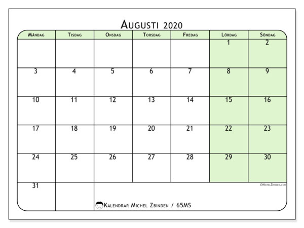 Kalender augusti 2020, 65MS. Almanak för att skriva ut gratis.