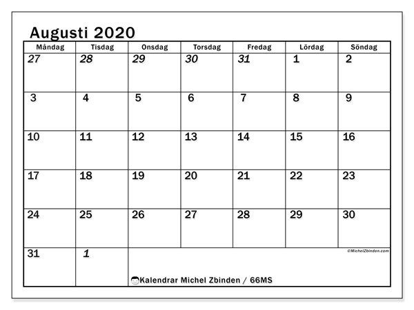 Kalender augusti 2020, 66MS. Gratis utskrivbara kalender.
